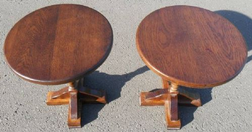 Pair Round Oak Pedestal Lamp Tables